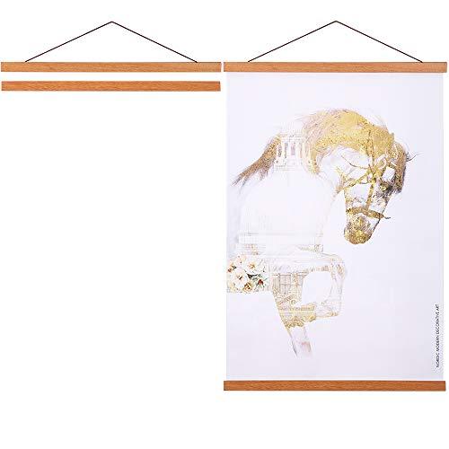 Mimacoo Magnetischer Poster-Aufhänger, helles Holz, Magnet-Leinwand, Kunstdruck, Dübel, Poster-Aufhänger, Aufhängeset für Wände, Karten, Rollen, Holzrahmen 33