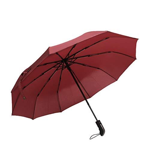 Tinyuet Regenschirm sturmfest , 41 Zoll Taschenschirm, Auf-Zu-Automatik 10 Edelstahl-Rippen Teflon-Beschichtung, UV-Schutz UPF50(Rot)