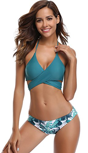 SHEKINI Womens Bathing Suits Floral Printing Swim Bottoms Padded Halter Bandage Bikini Two Piece Swimsuits (Small, Valley Green)