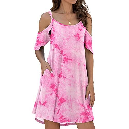 LIU NIAN BOHO 드레스 여성용 여름 콜드 SHOUDLER 프릴 슬리브 미디 드레스 타이 염료 프린트 드레스 포켓 포함