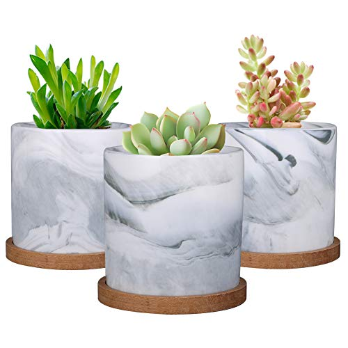 SQOWL Pflanzgefäß, Marmor-Keramik, für den Innenbereich, modern, Kaktus, Kräuter, Blumen, mit Bambus-Tablett, 10 cm, 3 Stück