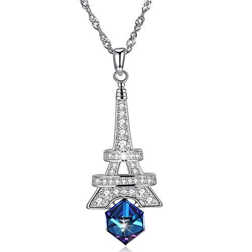 FOR TMT Halskette High-End Element Kristall Halskette Sterling Silber 925 Eiffelturm Kristall Anhänger Halskette Geschenk