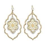 Gold Filigree Flower Earrings for Women Dangling Jewelry (gold filigree earrings)