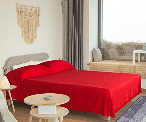 WECA FAMILY-Colcha Multiusos ,Plaid para sofá, Cama de 150-200, Liso, Rustico y Rayas. 200x270cm, Manta Multiuso Color Surtido. Algondón (200 X 270 CM, Rojo Liso)