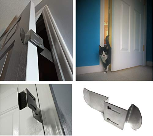 TheDoorLatch Adjustable Door Latch. Keeps Dogs Out of Litter. Holds Door Open for Cats. Super Easy Installation. Dog Proof Litter Box.