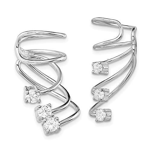 925 Sterling Silver Cubic Zirconia Cz Cuff Earrings Drop Dangle Non Pierced Fine Jewelry For Women Gifts For Her