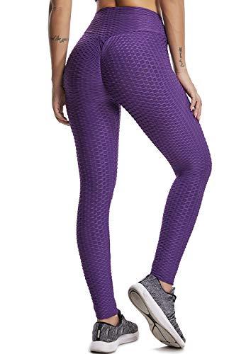 FITTOO Leggins Anti-Cellulite Sportivi Donna Pantaloni Tuta 3D Push up Yoga Pants Sexy Alta Elastico Fitness Ginnastica Viola S