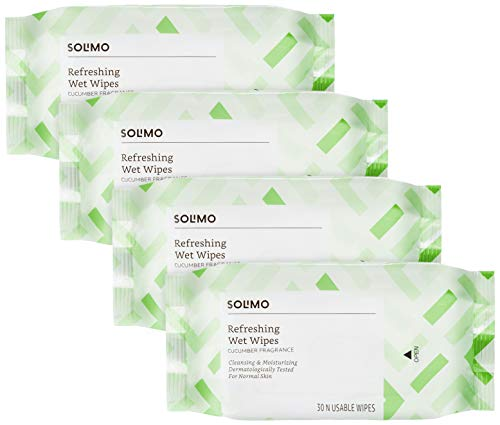 Amazon Brand – Solimo Refreshing Wet Wipes, Cucumber – 30 Wipes (Pack of 4)