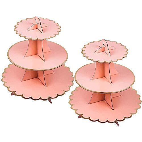 2 Unidades Soporte para Cupcakes 3-Tier Postre Soporte de Magdalenas Cartón Cupcake Stand Redondo para Cumpleaños, Fiesta, Baby Showers (Pink)