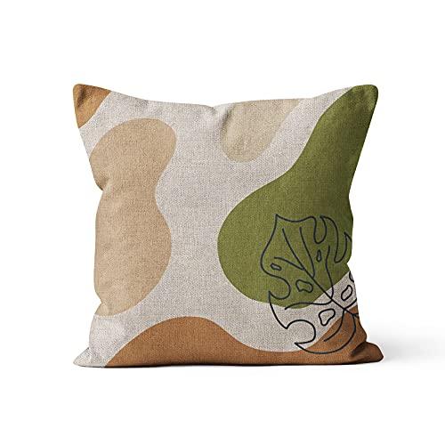 YQMJLF Funda Cojine sofá Decorar Funda Almohada Decoración Moderna para el hogar Funda de Almohada nórdica Funda de Almohada Verde Sofá de Color sólido Funda de cojín de Estilo escandinavo de Lino
