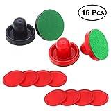 YeahiBaby 16PCS 76MM Air Hockey Pushers y Pucks Reemplazo para porteros de mesas de Juego (Rojo...