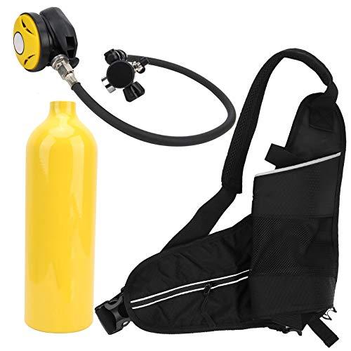 cigemay Tanque de Buceo Cilindro de Buceo de 1L Respiración subacuática hasta 20-25 Minutos Válvula de Alivio de presión Superior Manómetro Luminoso Impermeable Equipo de respiración de(Yellow)