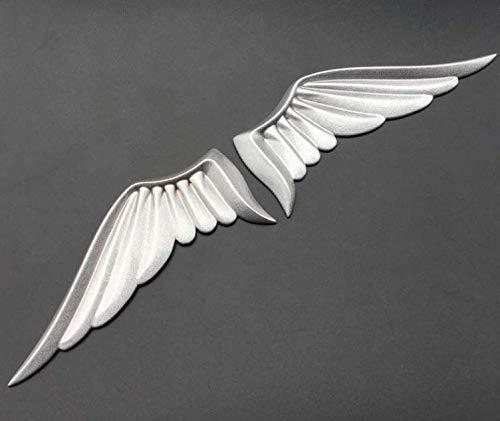 HTTY Paire mate argent métal ange ailes voitures moto emblèmes badge autocollant décalque (Color : Silver)