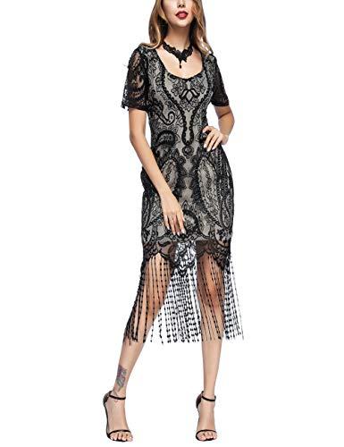 FeelinGirl Vestido Largo de 1920s Vintage con Fleco Encaje Vestido de Manga Corta Fiesta para Mujer