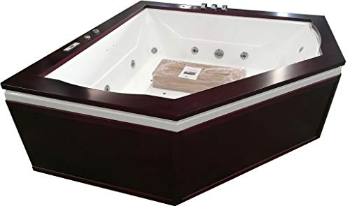 2 Person Luxury Massage Hydrotherapy Solid Wood Diamond Shaped Corner Bathtub Tub Whirlpool, with Bluetooth, Remote Control, Inline Water Heater, and 23 Total Jets