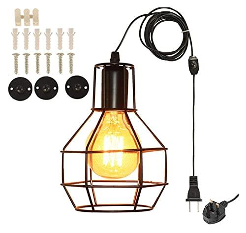 Lámpara de iluminación de Bricolaje de Estilo Retro Industrial con Jaula de Metal Negro, Cable de 450 cm de Cable con Interruptor Regulable, luz de Techo removible, luz/lámpara de Pared/lámpara de