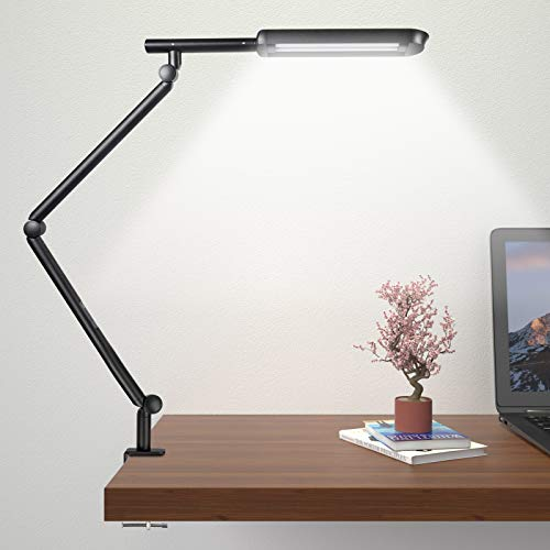 15W Super Light, Wellwerks Swing arm lamp, Eye-Caring LED Desk lamp with clamp, Timer, Memory, Adjustable Color Temperature clamp Light, Modern Architect Table Lamp for Task/ Study/ Reading (Black)
