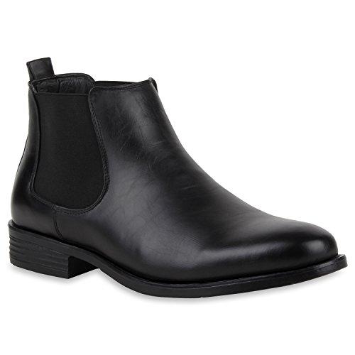 Stylische Herren Stiefeletten Chelsea Boots Business Leder-Optik Knöchelhohe Stiefel Schuhe 127369...