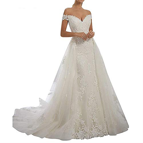 iluckin 2 Pieces Women's Off Shoulder Mermaid Wedding Dress with Detachable Train for Bride Beaded Lace Gown White