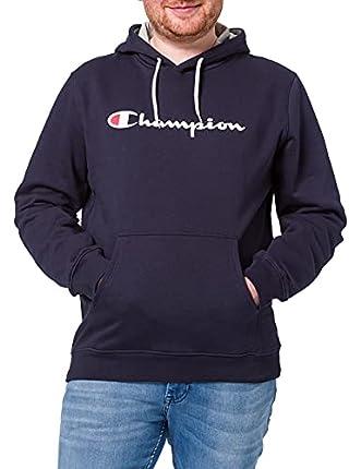 Champion Hombre - Sudadera con Capucha Classic Logo - Azul, M