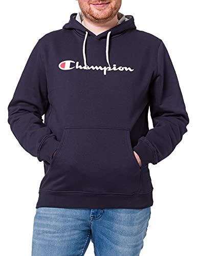 Champion Hombre - Sudadera con Capucha Classic Logo - Azul, L