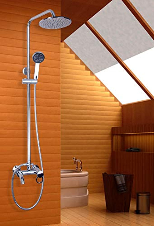 53003B Sprinkler 8  Round Rainfall Shower Head Chrome Finish Wall Mounted Bathroom Brass Bath Shower Faucet Set
