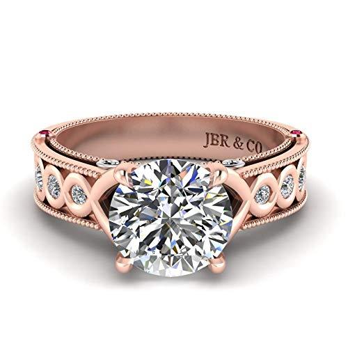 Jbr - Anillo de boda de plata de ley de corte redondo, regalo de amor infinito para ella con caja de regalo