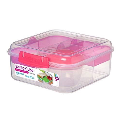 Sistema Bento Cube Box to Go mit Obst/Joghurt Topf, klar/pink, 1,25Liter