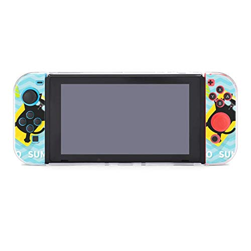 Protective Case Cover for Nintendo Switch Hello Summer Black Cat Floating on Yellow Air Pool Water Mattress Dockable Case Compatible with Nintendo Switch Console and Joy-Con Controller