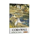 RUIQIU Cornwall Vintage-Reiseposter, dekoratives Gemälde,
