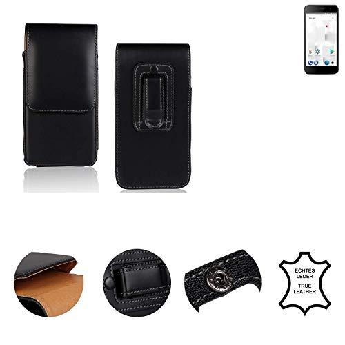 K-S-Trade® Holster Gürtel Tasche Für Thomson Friendly TH101 Handy Hülle Leder Schwarz, 1x