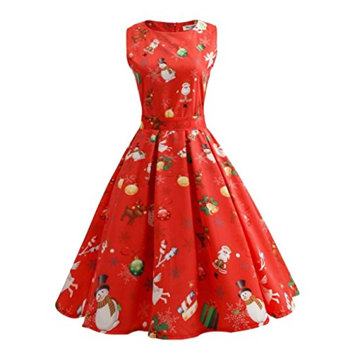KOLY Vestito Di Natale Delle Donne Pin Up Swing Senza Maniche Dress Del Pannello Vintage Stampato Cocktail Dance Party Matrimonio Abiti Vestito Vestito Da Ballo Colorato Dei Puntini (Red, M)
