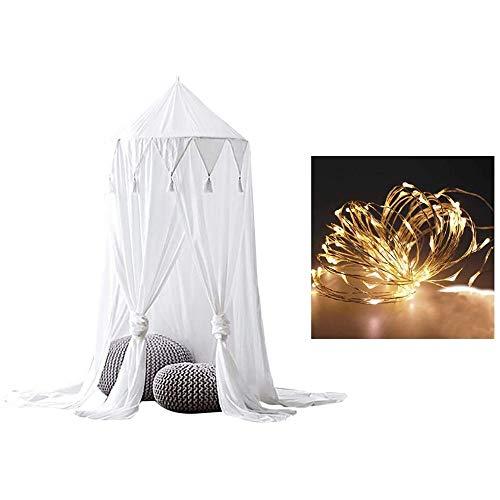 Baldachim do łóżka ze światłami, moskitiera dla dzieci okrągły namiot do zabawy z kopułą, zasłona pościel okrągły namiot do sypialni dekoracja z lampkami 10 m (biały)