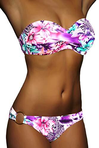 ALZORA Twist Push Up Bandeau Bikini Set Damen Pushup Badeanzug viele Farben und Größen (S, Neonpink)