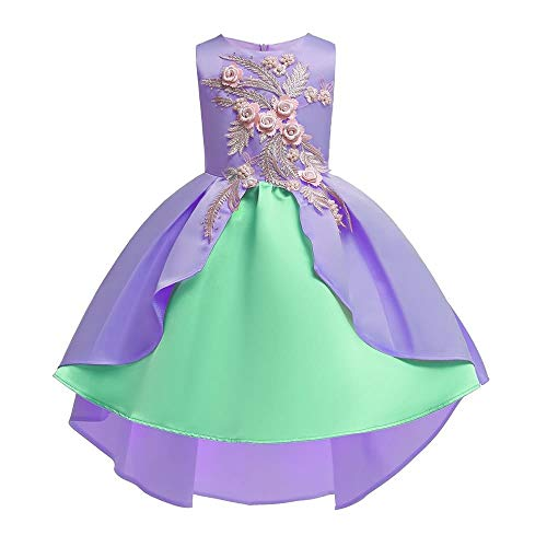 Lovely Prinsessenjurk Princess Dress Girls strik Princess Dress Satin Flower Girl bruiloft kostuum Piano prestaties kleding 2-9 jaar hjm gongzhuqun (Color : Purple, Size : 4-5T)