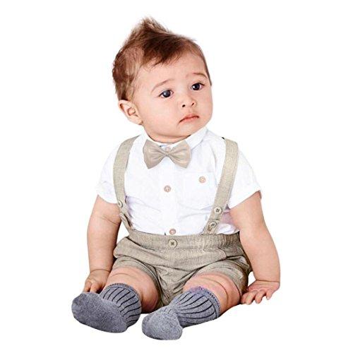 Morwind Bambini Baby Ragazzi Estate Gentleman Bowtie Manica Corta Camicia + Bretelle Pantaloncini Set Abbigliamento 18 Mesi Bimba Neonate Abbigliamento Bambina (Cachi, 6Mesi)