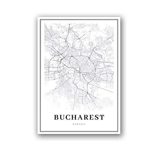 IGNIUBI Black White Bucharest Map Wall Art Canvas Painting Poster Romania City Street Road Map Print Nordic Decorative Home Wall Decor -50x70cm(no Frame)