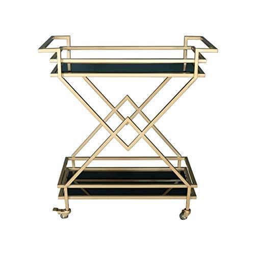 XCJ Barwagen Servierwagen mit Schublade Servierwagen Gold Mobile Mini Bar | Beistelltisch Auf Rollen Küchenwagen | Teewagen Mit Milchglas (Color : Glass, Size : 79x38x87cm)