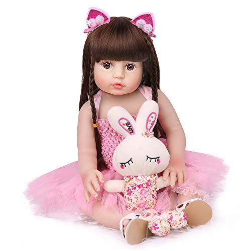 18 Inch Reborn Baby Dolls, Full Body Vinyl Baby Reborn Dolls Handmade Toddler Girl Dolls Waterproof Bath Dolls for Age 3+