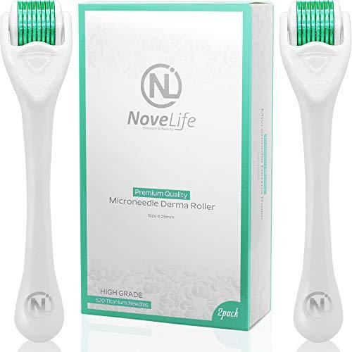 Derma Roller Kit - NoveLife Microneedle Roller 2pack .25mm Micodermabrasion Dermaroller for Face Body Hair & Beard Growth - 540 Titanium Microneedling Facial Skincare - Beauty Gift Set for Women & Men