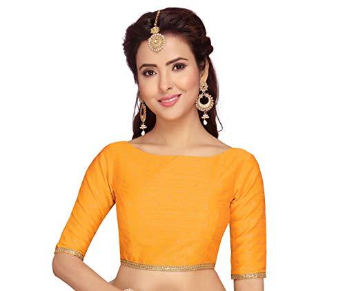 Studio Shringaar Women's Poly Raw Silk Brocade Saree Blouse with Elbow Length Sleeves (S2076, Yellow, 34)