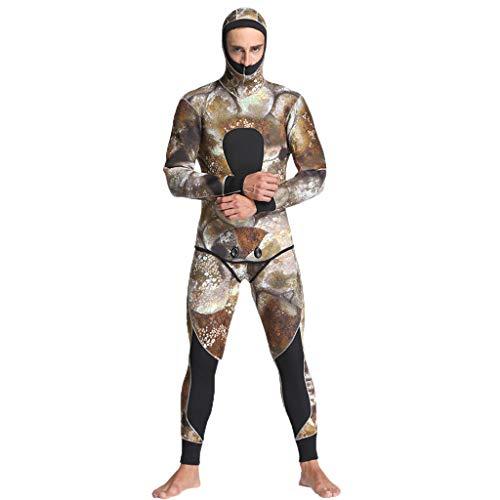 QIMANZI Taucheranzug Männer 5mm Neopren Thermal Neoprenanzüge Tauchen 2 Stück Badeanzug Jacken Hosen(Khaki,XL)
