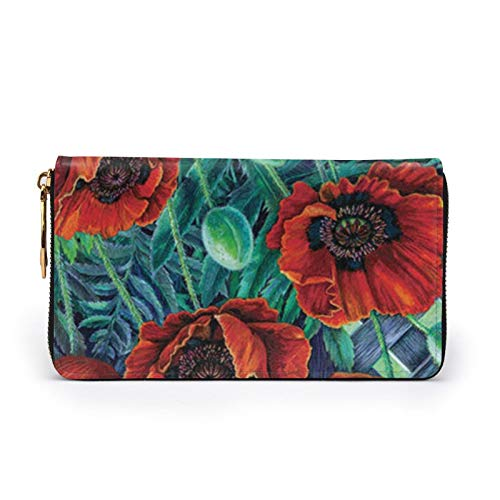 Flower Welcome - Cartera de cuero impreso para mujer con cremallera y bolsa de embrague para viajes, Black (Negro) - Black-48