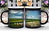 Amymami Personalized Gifts Heat Changing Magic Coffee Mug - Iowa Landscape Scenic Sky Clouds Farm Rural