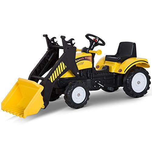 HOMCOM Pedal Go Kart Ride On Excavator W/ Front Loader Digger Four Wheels Child Toy