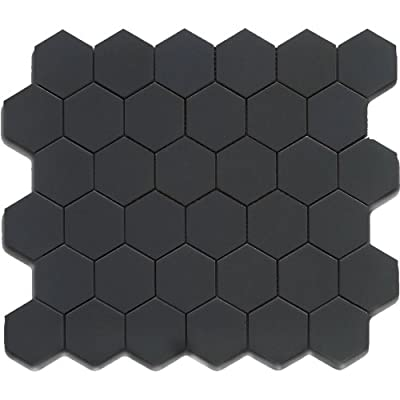 Black 2 Inch Hexagon Mosaic matte, 10 pieces (10 Sqft)