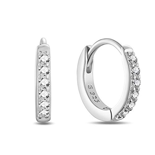 SHEGRACE Silver Hoops Earrings for Women 925 Sterling Silver Platinum plated Huggie Hinged Earrings with AAA Cubic Zirconia, Diameter 8mm Hypoallergenic Small Sleeper Hoops