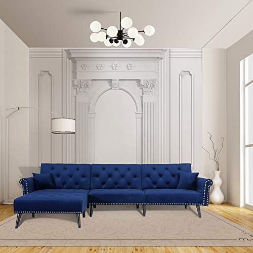 NOUVCOO Modern Velvet Fabric Sectional Sofa, L-Shape Couch with Extra Wide Chaise Lounge, Left Hand Facing, Navy Blue