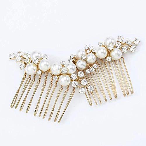 Mayelia Perle Braut Hochzeit Haarkamm Gold Haarschmuck Haarteil für Frauen und Mädchen (2 Stück)