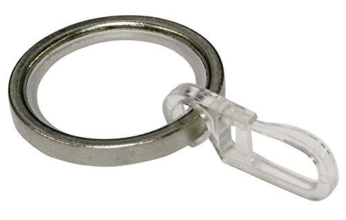 GARDINIA Vorhängeringe für Vorhängestangen mit 20 mm Durchmesser, Inklusive Gleiteinlage & Faltenlegehaken, 10 Stück, Serie Chicago, Breite 4 mm, Metall, Edelstahl-Optik